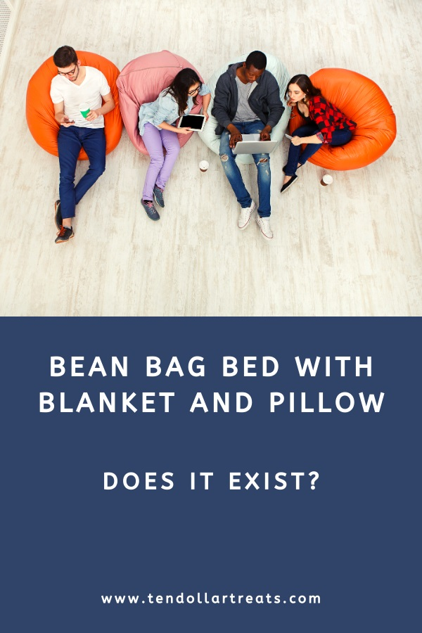 Bean bag bed with blanket and pillow