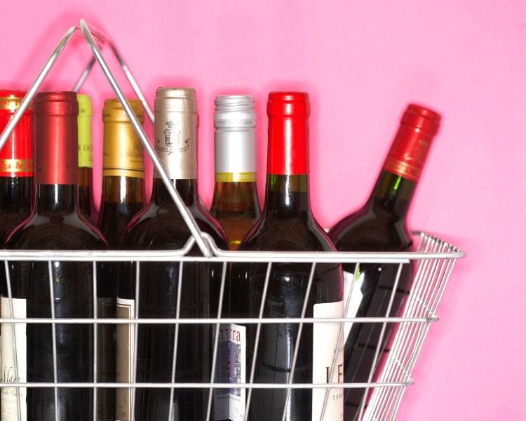 Wine bottles in a basket