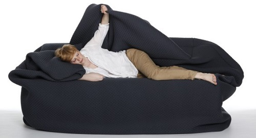 The Moody Couch is like a bean bag bed with blanket and pillow