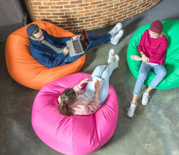 Set of bean bag chairs in office